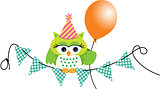 Birthday owl with balloon