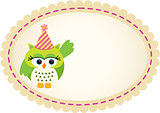 Cute Owl Birthday Label