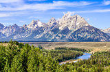 Grand Teton mountains scenic view with Snake river
