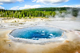 Landscape view of Crested pool in Yellowstone NP