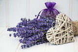 Beautiful fragrant lavender bunch in rustic home styled setting
