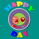 Comic purple plate Happy Day