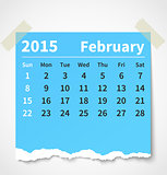 Calendar february 2015 colorful torn paper