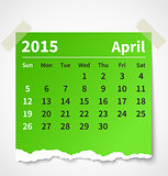 Calendar april 2015 colorful torn paper