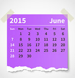 Calendar june 2015 colorful torn paper