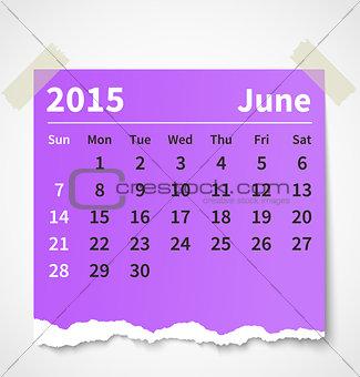 Calendar june 2015 colorful torn paper