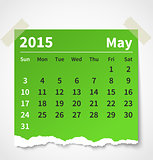 Calendar may 2015 colorful torn paper