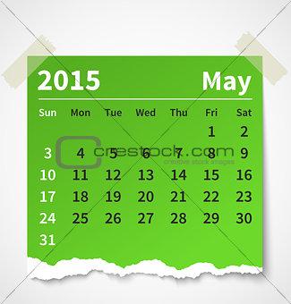 Calendar may 2015 colorful torn paper