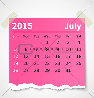 Calendar july 2015 colorful torn paper