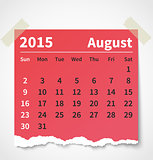 Calendar august 2015 colorful torn paper