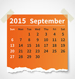 Calendar september 2015 colorful torn paper