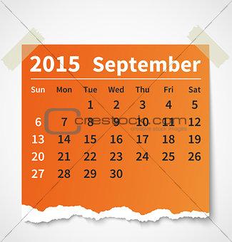 Calendar september 2015 colorful torn paper