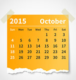 Calendar october 2015 colorful torn paper