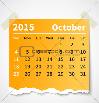 Calendar october 2015 colorful torn paper