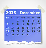 Calendar december 2015 colorful torn paper