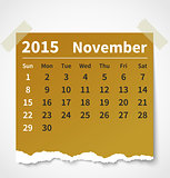 Calendar november 2015 colorful torn paper