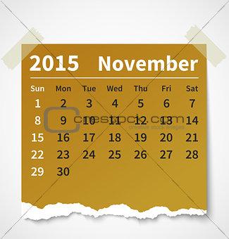Calendar november 2015 colorful torn paper