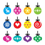 Christmas ball, Christmas bauble colorful icons set