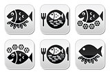 Fish and chips vector buttons set