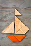 tangram sailboat abstract