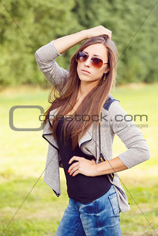 Portrait of charming lady woman girl with sunglasses