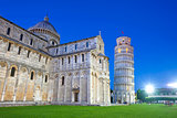 Piazza del Duomo with Pisa tower and the Cathedral illuminated a