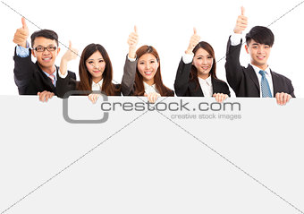 asian young business people holding white board and thumb up