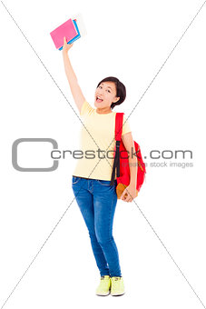 asian young student girl raising a hand with book