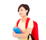 young student girl standing and holding book