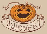 Lantern pumpkin holding a banner Halloween