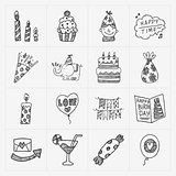 Doodle Birthday party icon set