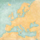 Map of Europe - Malta (Vintage Series)