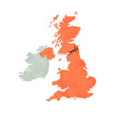 Map of United Kingdom with Crack