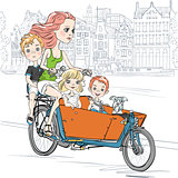Vector beautiful girl carries child on the bike in Amsterdam