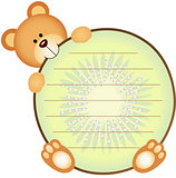 Label with Teddy Bear Eating Kiwi
