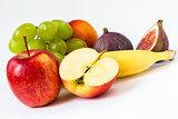 fresh apple, grapes, banana, fig, nectarine