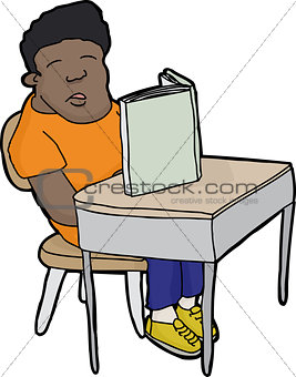 Sleeping Student at Desk