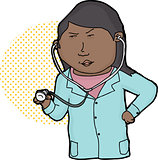 Serious Doctor with Stethoscope