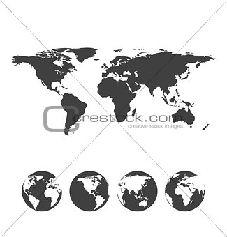 Gray map of the world with globe icons