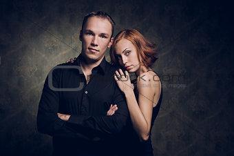 Portrait of couple in love, studio shot