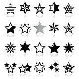Stars black icons with reflection isolated on white