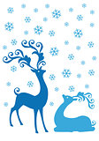 Christmas deers in snowfall, vector