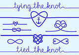 rope hearts and knots, vector set