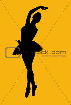 Black silhouette of ballerina isolated over yellow background