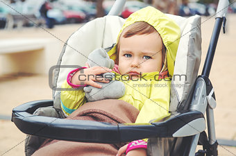Adorable baby girl outdoors