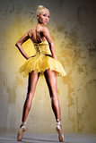 Beautiful ballerina in yellow tutu on point