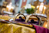 Golden crowns in orthodox wedding ceremony