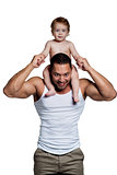 Loving father with daughter on shoulders isolated on white backg