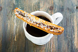 Biscotti with chocolate and walnuts.