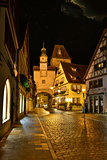 Night illuminated view of old German town  Rotenburg on Tauber.